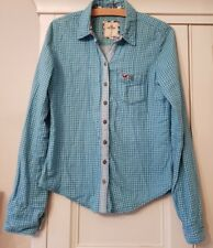 Woman's/Girl's HOLLISTER LIGHT BLUE & WHITE CHECK SHIRT/TOP/BLOUSE - Size SMALL