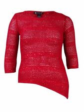 INC International Concepts Women's Crochet Sequined Sweater (L, Real Red)
