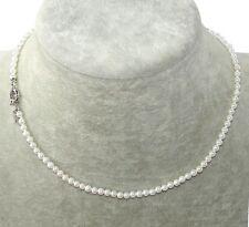 Collana girocollo in perle vere colore bianco 4/5mm ,Naturale,da donna