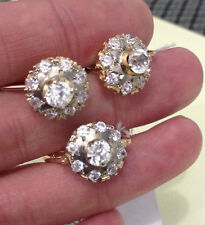 Russian Vintage USSR Rose Pink Gold Set Ring and Earring with Fianits 14 K 583