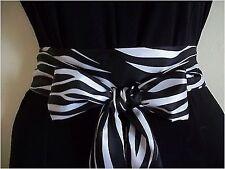 "2.5""X60"" BLACK WHITE ZEBRA ANIMAL PRINT SATIN SASH BELT SELF TIE BOW FOR DRESS"