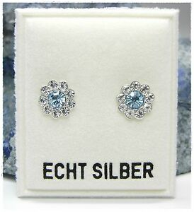 NEU 925 Silber OHRSTECKER Blume SWAROVSKI STEINE aquamarine/blau/klar OHRRINGE