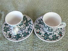 Turkish handmade ceramic coffee cup and saucer. From Turkey. Suit short black.