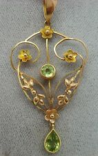9K Gold Victorian Lavaliere Pendant with Genuine Natural Peridots (#1922)