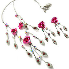 Beautiful Leaf Peony Flower Austrian Crystal Beaded Necklace Earrings Set