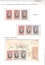 Tonga:Sc 70-72 Queen Salote,Specimen set+current issue+Cover with postal. TG064