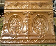 """Antique Victorian Ceiling Tin Tile Gold Acanthus Torch Cameo 24"""" Cottage Chic"""