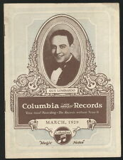 MARCH, 1929 COLUMBIA RECORDS BOOKLET, LISTS OF NEW RECORDS
