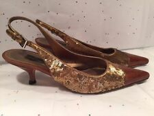 PRADA GOLD SEQUIN & BROWN LEATHER SLINGBACK SHOES HEELS SZ 35 1/2 EUR - 5 1/2 US