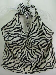 Catalina Womens Size 2X 18W-20W Blue Tankini Swim Adjustable Zebra Stripe Halter