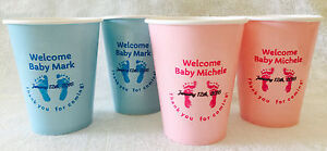 24 Personalized Footprint pink or blue hot/cold 9 oz. Cups for Baby Shower Party