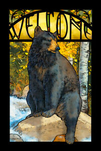 The Paws That Refreshes - Black Bear Stained Glass Art by Lee Kromschroeder