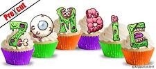 PRE-CUT ZOMBIE LETTERS EDIBLE WAFER CUP CAKE TOPPERS HALLOWEEN PARTY DECORATIONS