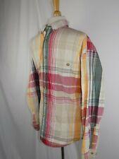 Eddie Bauer Men's Shirt XL L/S Button Red Gray White Stripe