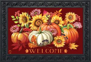 "Fall Beauty Floral Doormat Pumpkins Indoor / Outdoor 18""x30"" Briarwood Lane"