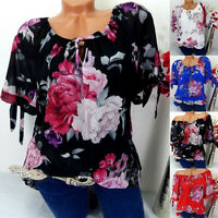 Women Casual Plus Size Short Sleeve Print Off Shoulder Blouse Loose Tops Shirt