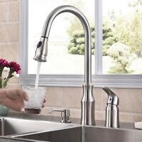 Commercial Kitchen Sink Faucet 3 Holes Single Handle Pull Down W/ Soap Dispenser