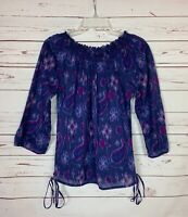 Lucky Brand Women's M Medium Purple Boho Cotton Cute Spring Top Blouse Shirt