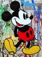 Mr Brainwash Alec Monopoly Mickey Mouse Abstract Print on Canvas 24x30""