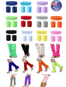 AU Fashion Ladies Neon Disco Leg Warmers Headband Sweatband 80s Dance Hens Party