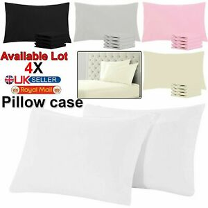4X PILLOW CASE LUXURY CASES POLY COTTON HOUSEWIFE PAIR PACK BEDROOM PILLOW COVER