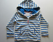 EX BODEN COTTON STRIPE ZIP UP HOODIE BLUE- CORAL- GREY/YELLOW  AGES 1-12   BNWOT