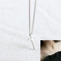 925 Sterling Silber Halskette Collier Kette + mini Kreuz Anhänger Christ Summer