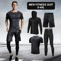 Men Compression Quick Dry Sports Running Training Gym Fitness Tracksuits Sets