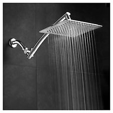 9in Chrome Face Rain Fall Shower Head Extension Arm Square Bath Room Fixture New