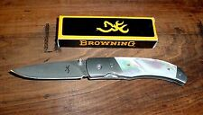 Browning Damascus Mother Of Pearl Handle Folding Pocket Knife Japan 3220241