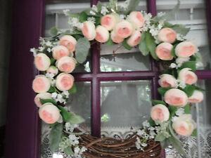 Pink Ranunculus Wreath (Handmade)