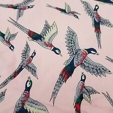 "Pink Pheasant Silk Scarf Trafalgar 17"" Hand Rolled Made in Italy Neck Pocket"