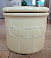 Longaberger Woven Traditions Pottery Yellow 1 Pint Butter Salt Crock with Lid