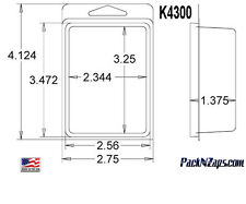 """K4300: 875 - 4""""H x 3""""W x 1.375""""D Clamshell Packaging Clear Plastic Blister Pack"""