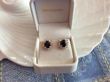 14k gold genuine diamond blue sapphire earrings
