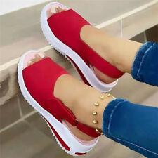 Ladies Peep Toe Sandals Wedge Heels Slingback Flip Flop Beach Pumps Shoes Summer