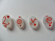 Love & hearts - Set of 4 Hand painted sea glass fridge magnets