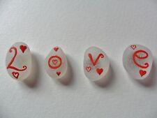 LOVE & Cuori-Set di 4 dipinti a mano mare vetro Calamite per Frigo