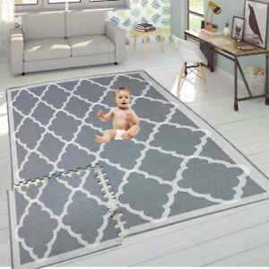 Grey Mat Kids Children Living Room Play Yoga Gym Exercise Gym Fitness Rug Carpet