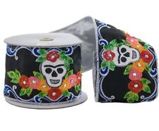 "Katherine's Collection Frida Skull Ribbon 4"" x 5 Yards Halloween NEW 08-682039"