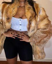 Real Fur Red Fox Brown Vintage Coat Jacket 38/40 UK 8-10-12
