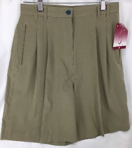 Bette & Court Khaki Checked Walking Shorts Womens Size 8 NOS 190109MFC/BSS