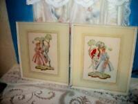 ANTIQUE CRINOLINE COUPLE PRINTS LADY SOUTHERN BELLE 1920's REVERSE GLASS MATS