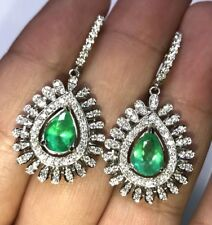 Colombian 4.36TCW Emeralds Diamond in 18K solid WHITE gold Earrings chandelier