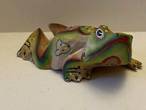 Vintage Hand Crafted Wooden Frog