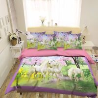 3D Einhorn 559 Bett Kissenbezüge steppen Duvet Decken Set Single DE Sunmmer