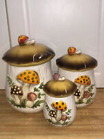 Vintage Ceramic Merry Mushroom Set of 3 Canisters Sears and Co. 1978 Japan Euc