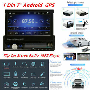 """1Din 7"""" Android 1080P GPS Flip Car Stereo Radio MP5 Player Touch Screen USB Unit"""