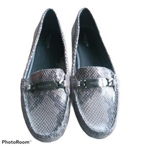 COACH Olive Loafer Shoes Womens Size 9.5 Slip On Snakeskin Pattern Flats