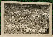 Gravure Originale Bois Gravé Hommage Van Gogh VERNER Auvers sur Oise 1957 V18
